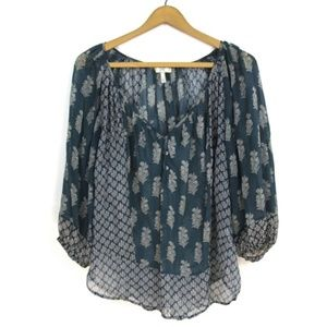joie teal feather print silk flowy blouse